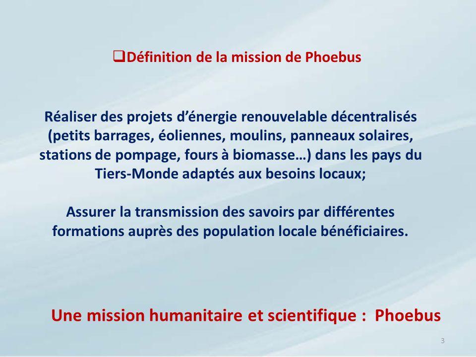 3 Définition de la mission de Phoebus Réaliser des projets dénergie renouvelable décentralisés (petits barrages, éoliennes, moulins, panneaux solaires