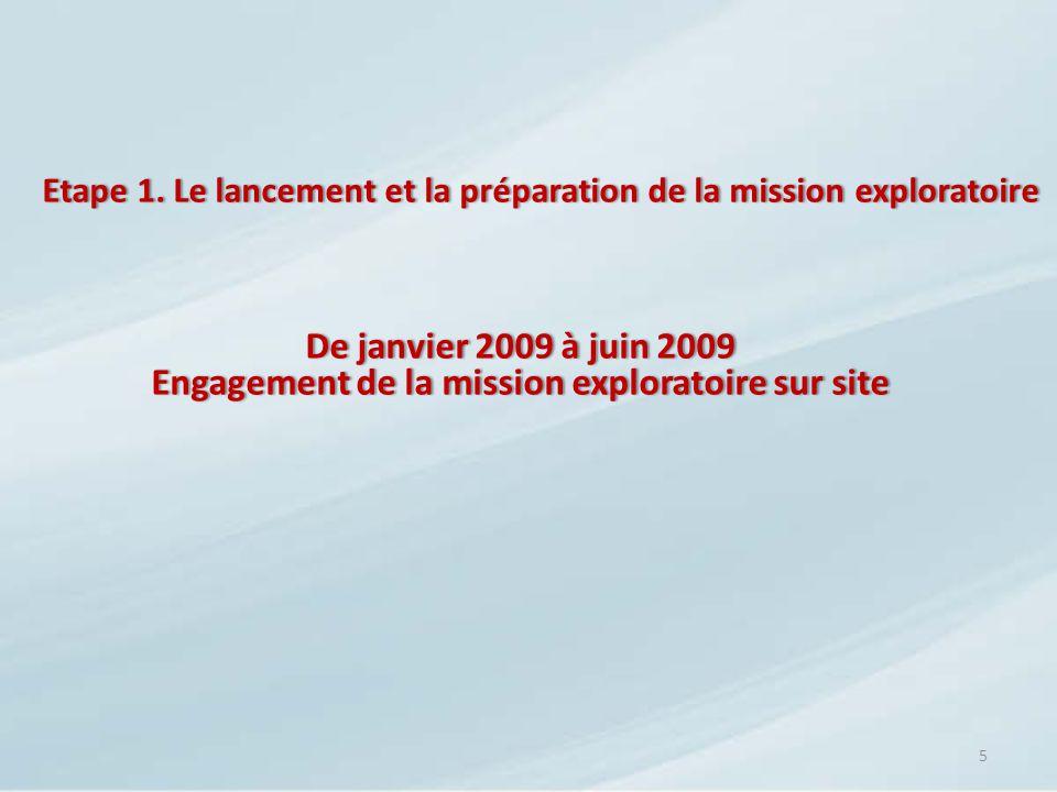 Etape 1. Le lancement et la préparation de la mission exploratoireEtape 1. Le lancement et la préparation de la mission exploratoire 5 De janvier 2009