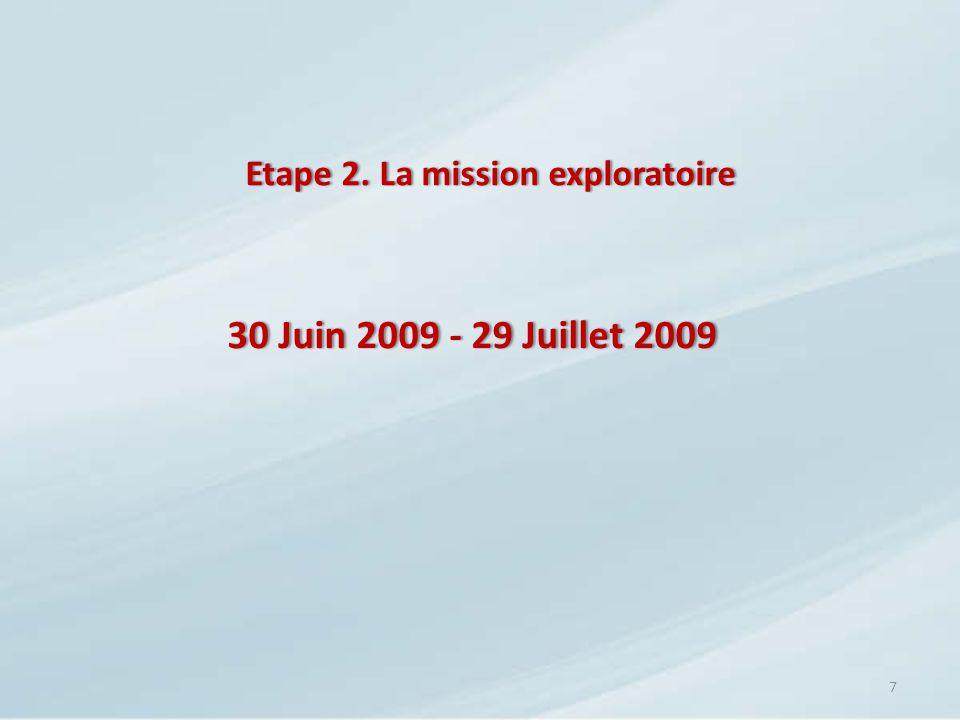 Etape 2. La mission exploratoireEtape 2. La mission exploratoire 7 30 Juin 2009 - 29 Juillet 200930 Juin 2009 - 29 Juillet 2009