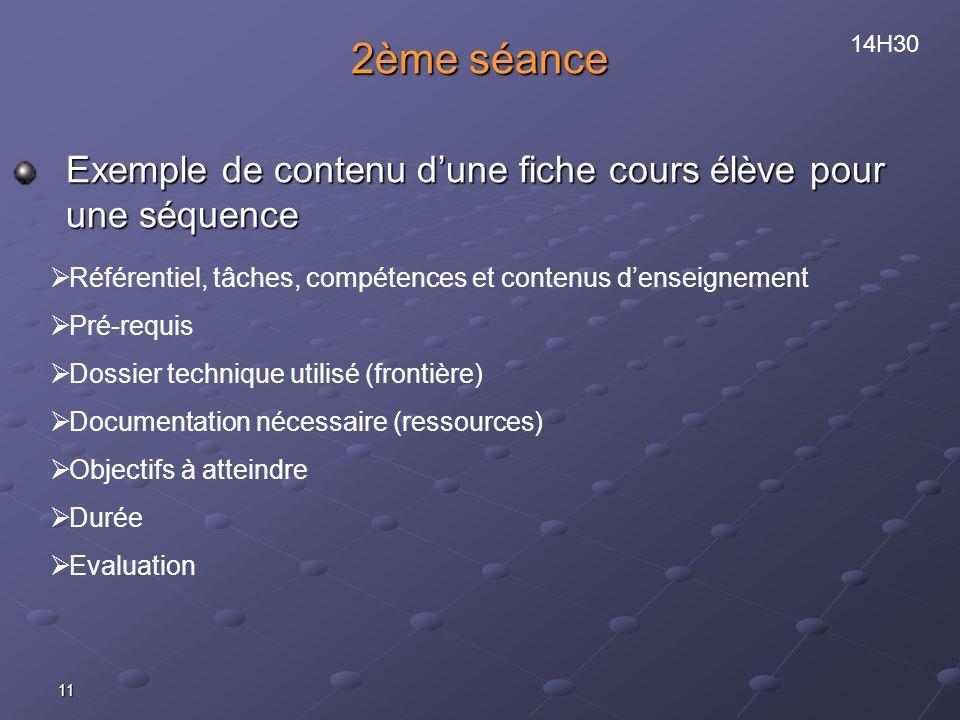 11 2ème séance Exemple de contenu dune fiche cours élève pour une séquence Référentiel, tâches, compétences et contenus denseignement Pré-requis Dossier technique utilisé (frontière) Documentation nécessaire (ressources) Objectifs à atteindre Durée Evaluation 14H30