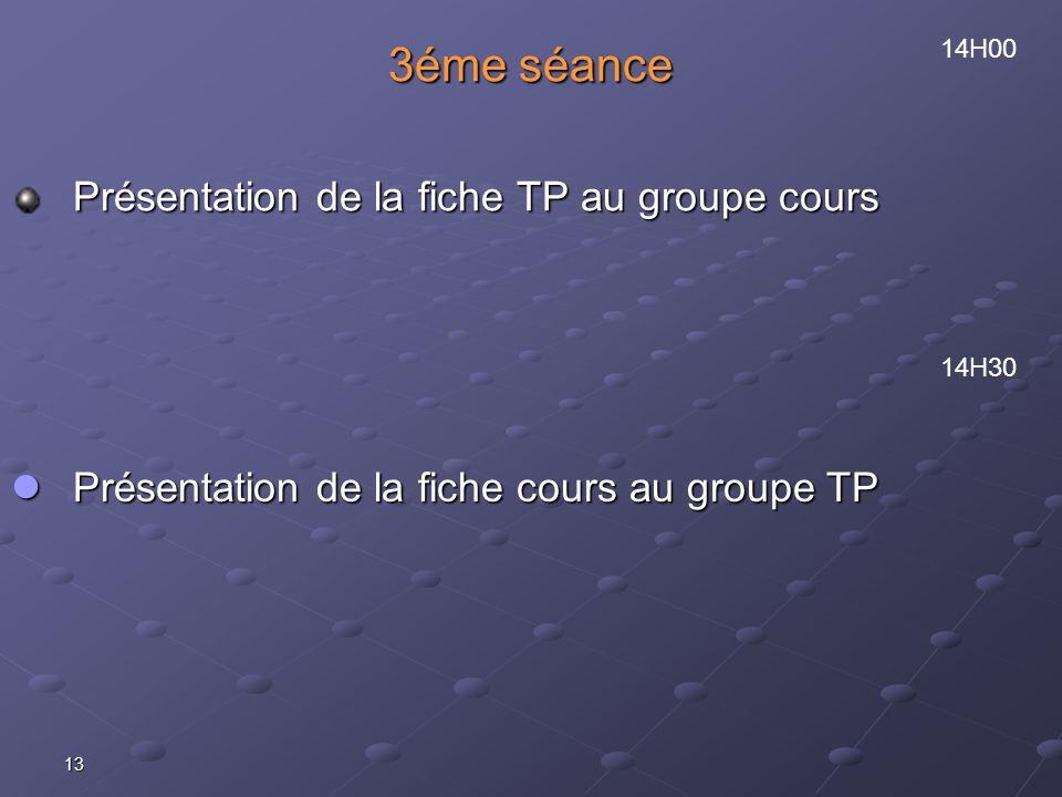 13 3éme séance Présentation de la fiche TP au groupe cours 14H00 14H30 Présentation de la fiche cours au groupe TP Présentation de la fiche cours au groupe TP