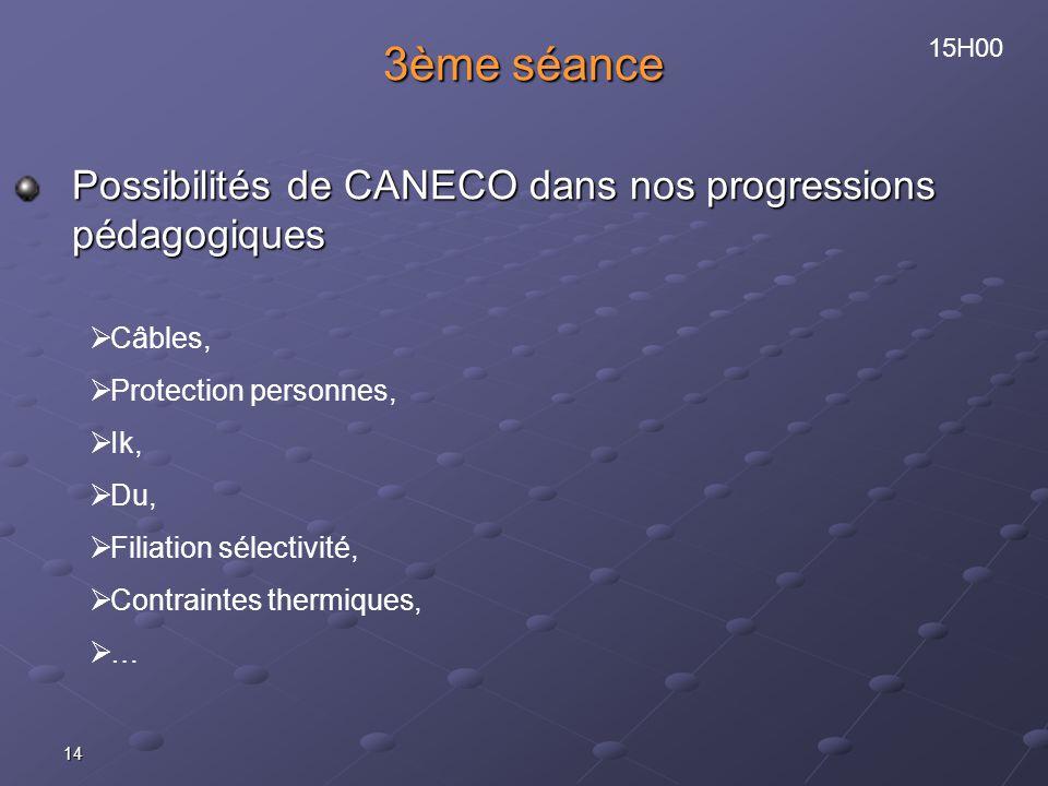 14 3ème séance Possibilités de CANECO dans nos progressions pédagogiques Câbles, Protection personnes, Ik, Du, Filiation sélectivité, Contraintes thermiques, … 15H00
