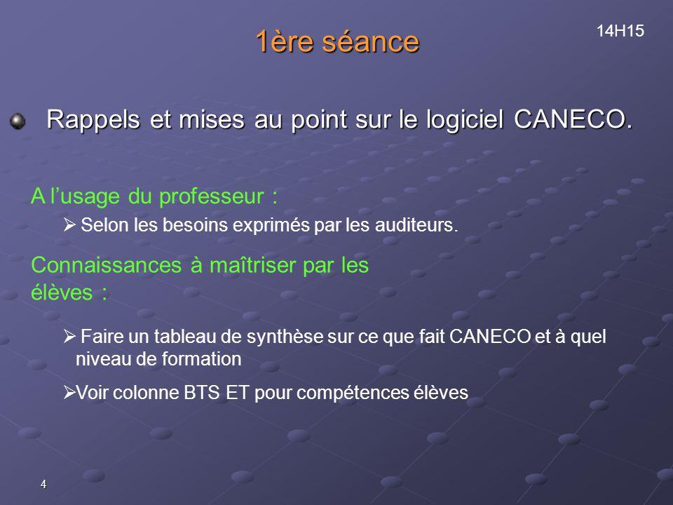 4 1ère séance Rappels et mises au point sur le logiciel CANECO.