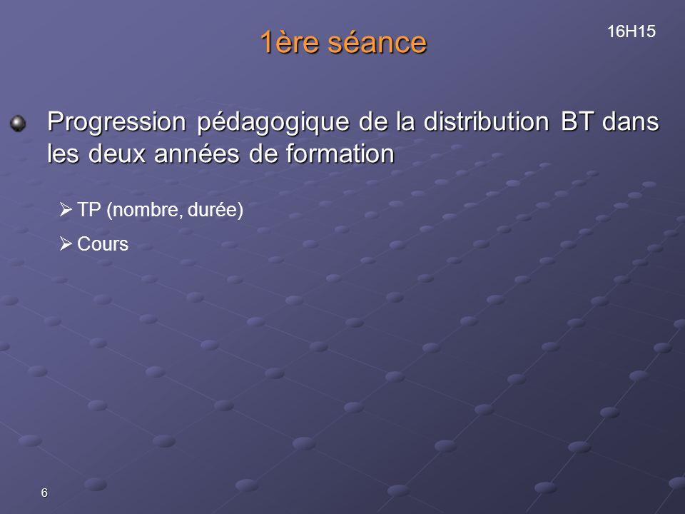 6 1ère séance Progression pédagogique de la distribution BT dans les deux années de formation TP (nombre, durée) Cours 16H15