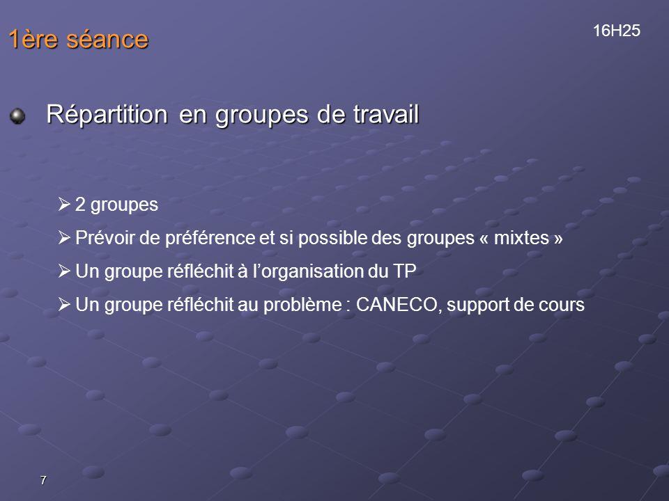 7 1ère séance Répartition en groupes de travail 2 groupes Prévoir de préférence et si possible des groupes « mixtes » Un groupe réfléchit à lorganisat