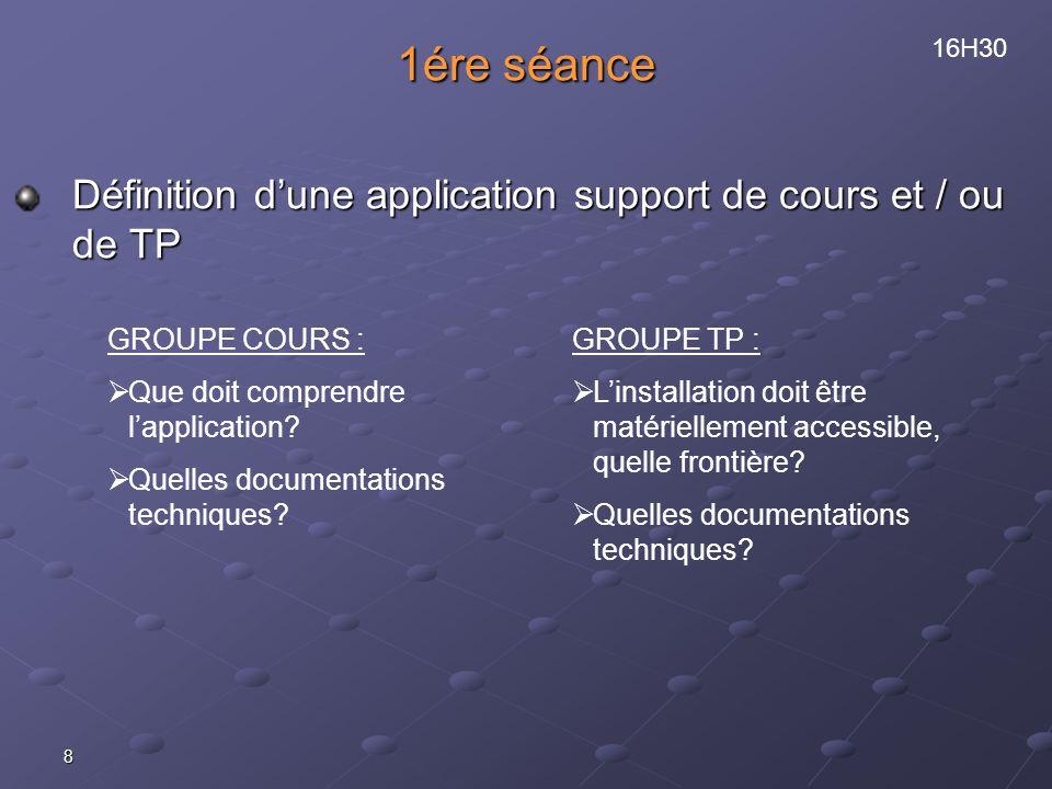 8 1ére séance Définition dune application support de cours et / ou de TP GROUPE COURS : Que doit comprendre lapplication? Quelles documentations techn