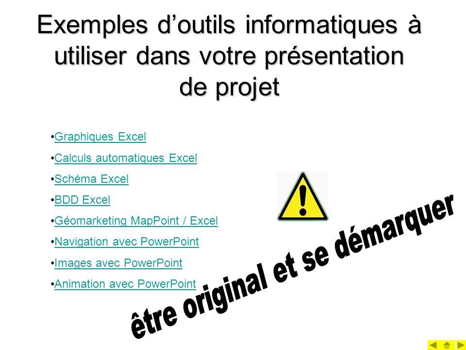 Exemples doutils informatiques à utiliser dans votre présentation de projet Graphiques Excel Calculs automatiques Excel Schéma Excel BDD Excel Géomarketing MapPoint / Excel Navigation avec PowerPoint Images avec PowerPoint Animation avec PowerPoint