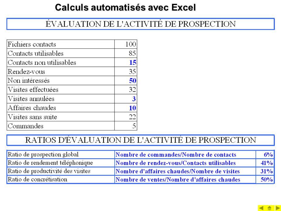 Calculs automatisés avec Excel