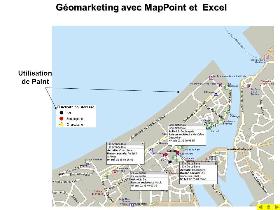 Géomarketing avec MapPoint et Excel Utilisation de Paint