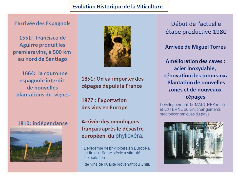 Evolution Historique de la Viticulture Larrivée des Espagnols 1551: Francisco de Aguirre produit les premiers vins, à 500 km au nord de Santiago 1664: