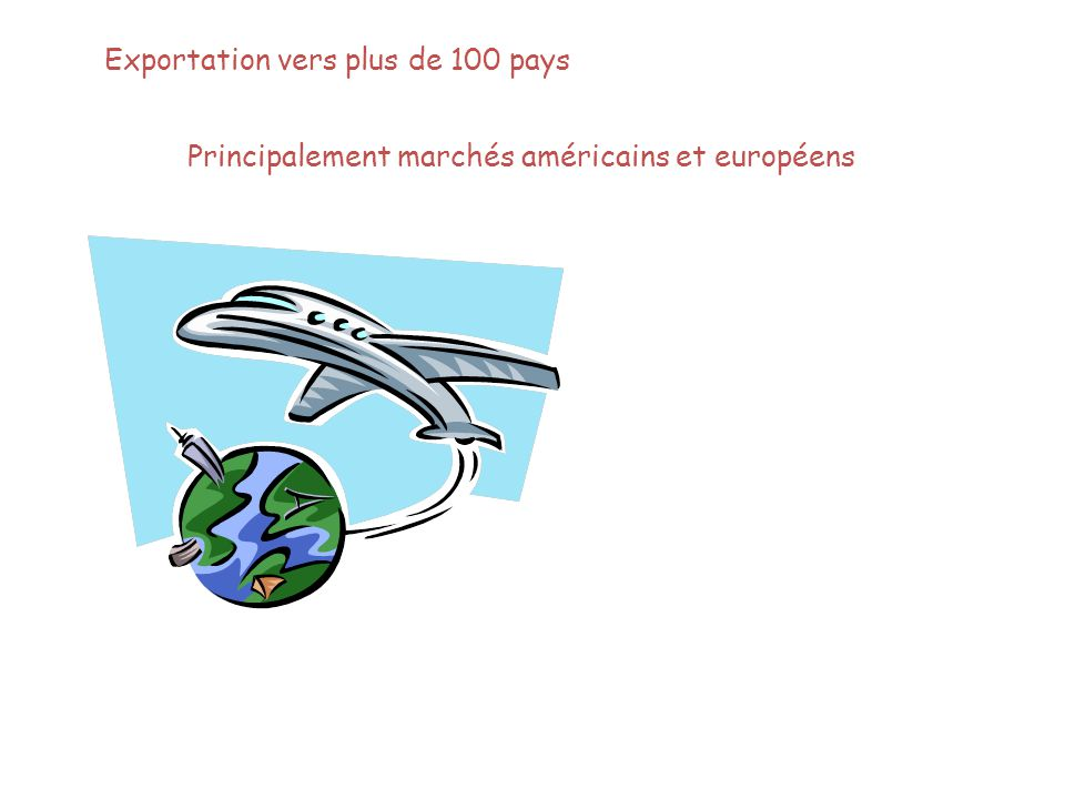 Exportation vers plus de 100 pays Principalement marchés américains et européens