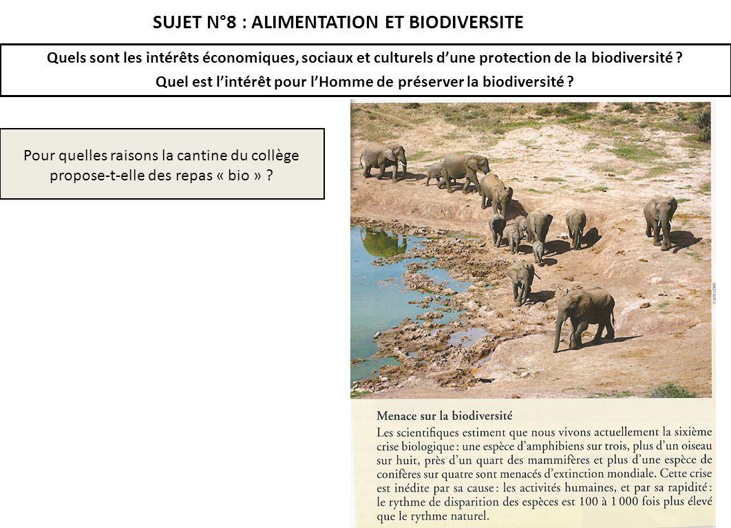 SUJET N°8 : ALIMENTATION ET BIODIVERSITE Quels sont les intérêts économiques, sociaux et culturels dune protection de la biodiversité ? Quel est linté
