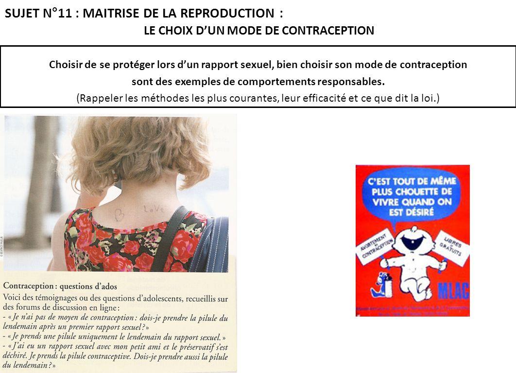 Choisir de se protéger lors dun rapport sexuel, bien choisir son mode de contraception sont des exemples de comportements responsables. (Rappeler les