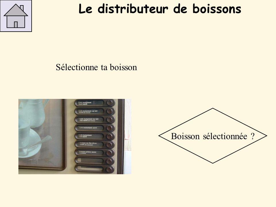 Sélectionne ta boisson Boisson sélectionnée ? Le distributeur de boissons