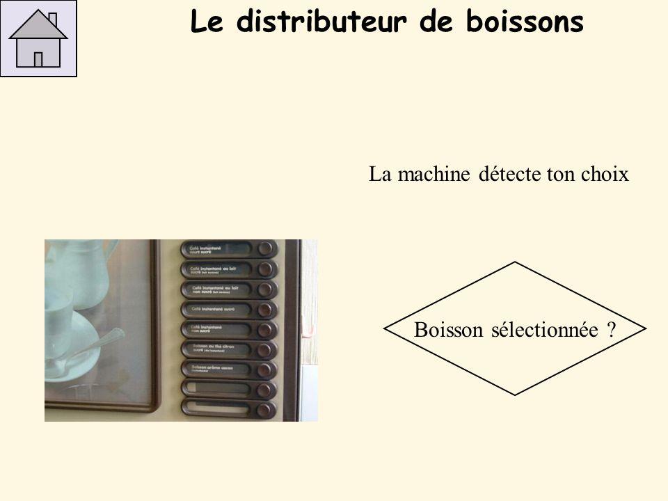 La machine détecte ton choix Boisson sélectionnée ? Le distributeur de boissons