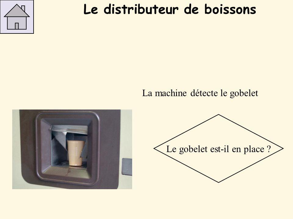 Action : le gobelet descend Descente du gobelet Le distributeur de boissons