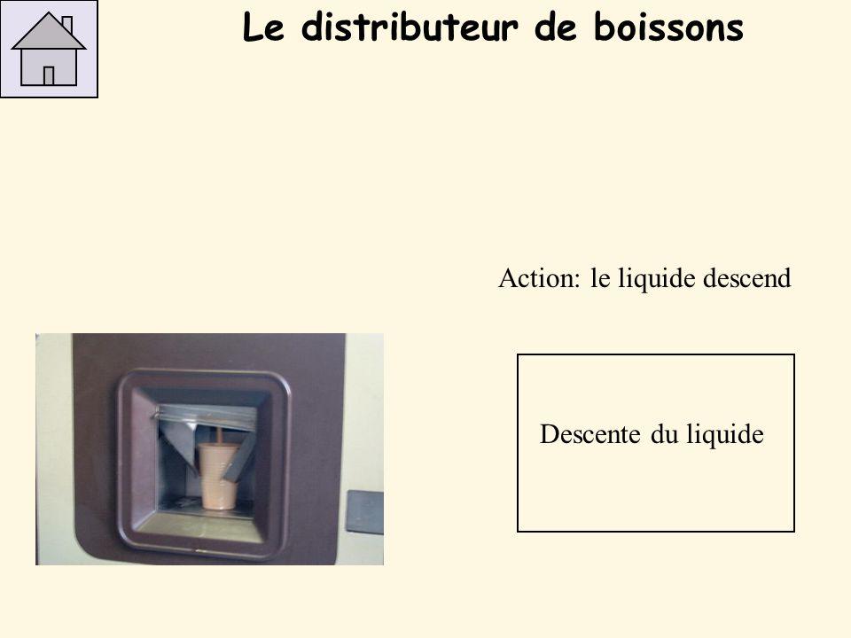 Action: le liquide descend Descente du liquide Le distributeur de boissons
