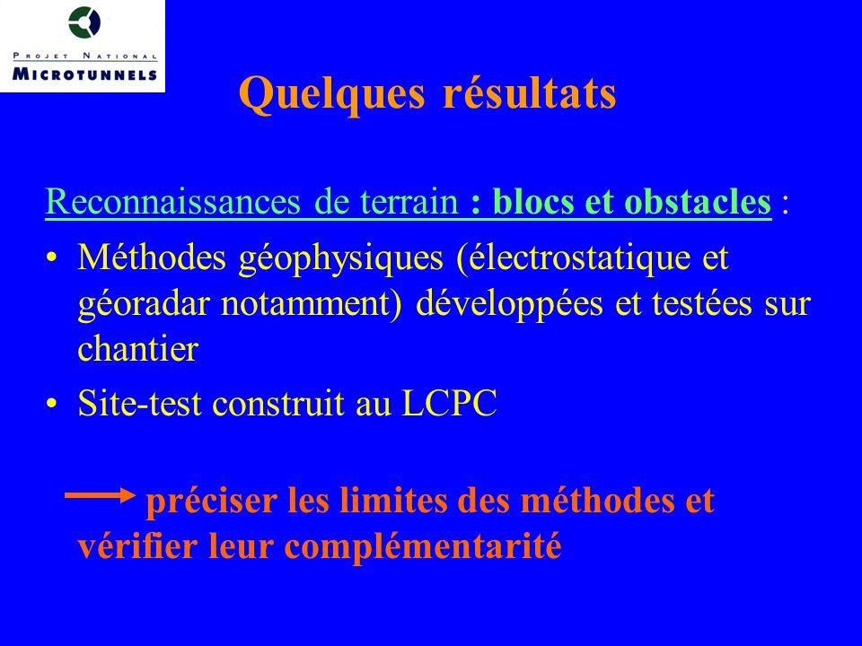 Quelques résultats Reconnaissances de terrain : blocs et obstacles : Méthodes géophysiques (électrostatique et géoradar notamment) développées et testées sur chantier Site-test construit au LCPC préciser les limites des méthodes et vérifier leur complémentarité