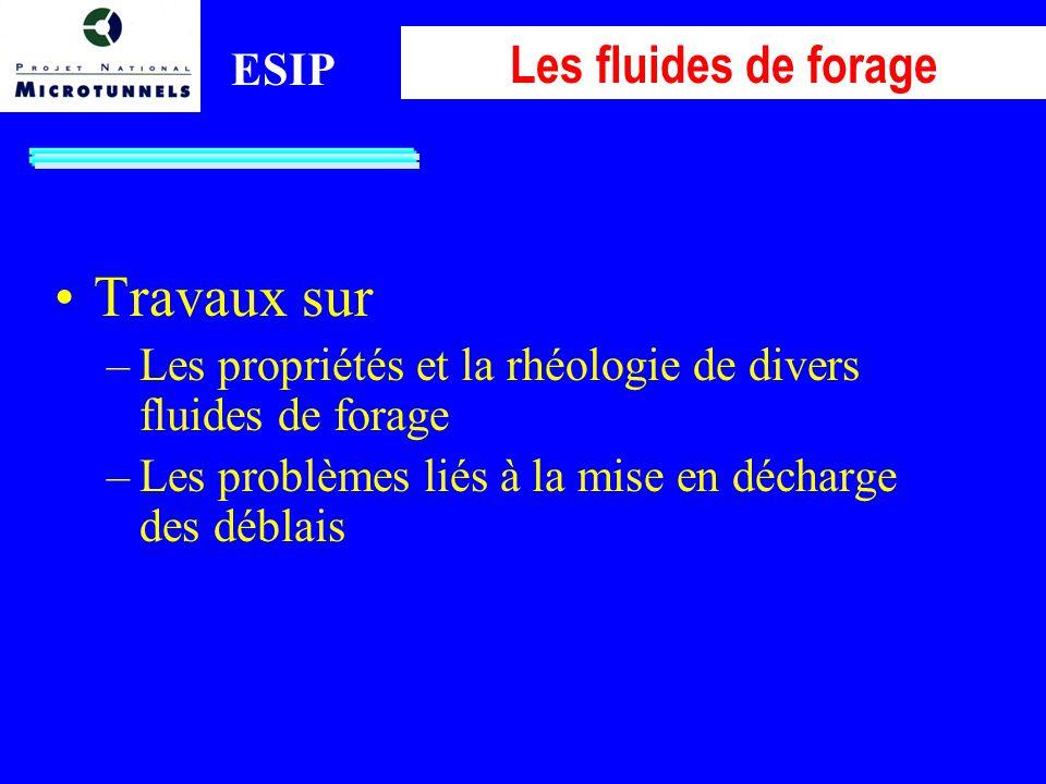 ESIP Les fluides de forage Travaux sur –Les propriétés et la rhéologie de divers fluides de forage –Les problèmes liés à la mise en décharge des déblais