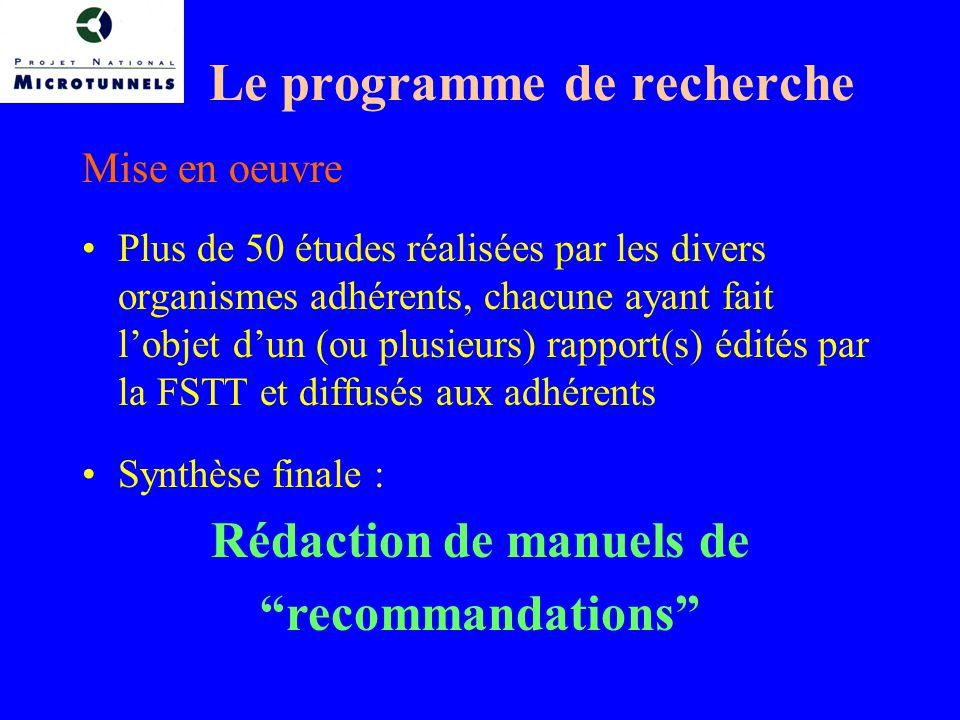 Le programme de recherche Mise en oeuvre Plus de 50 études réalisées par les divers organismes adhérents, chacune ayant fait lobjet dun (ou plusieurs) rapport(s) édités par la FSTT et diffusés aux adhérents Synthèse finale : Rédaction de manuels de recommandations