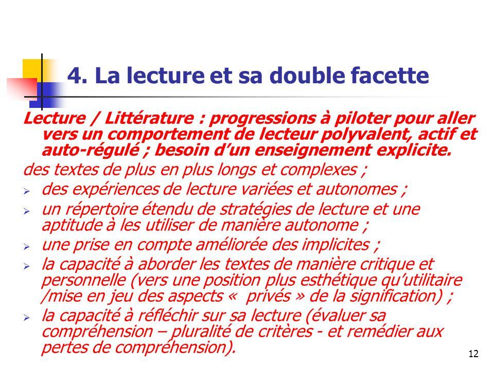 12 4. La lecture et sa double facette Lecture / Littérature : progressions à piloter pour aller vers un comportement de lecteur polyvalent, actif et a