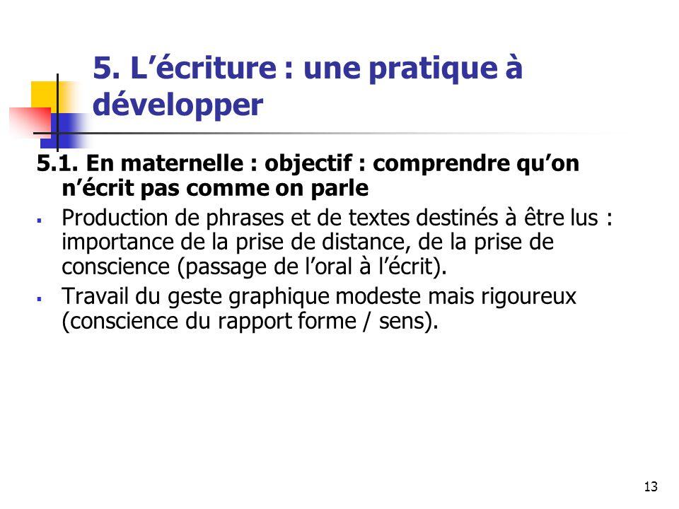 13 5. Lécriture : une pratique à développer 5.1.