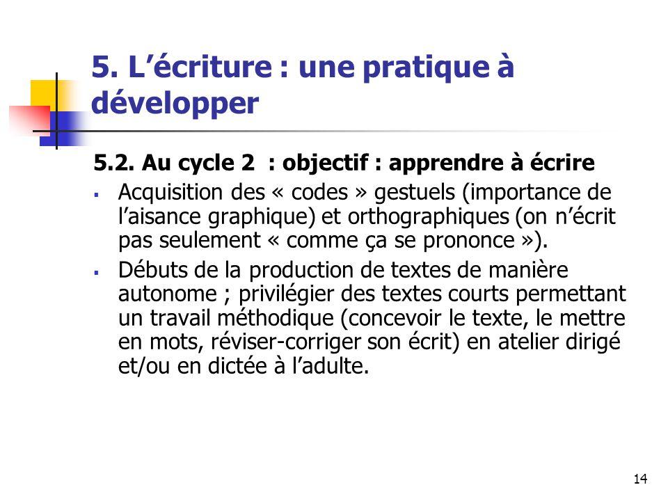 14 5. Lécriture : une pratique à développer 5.2.