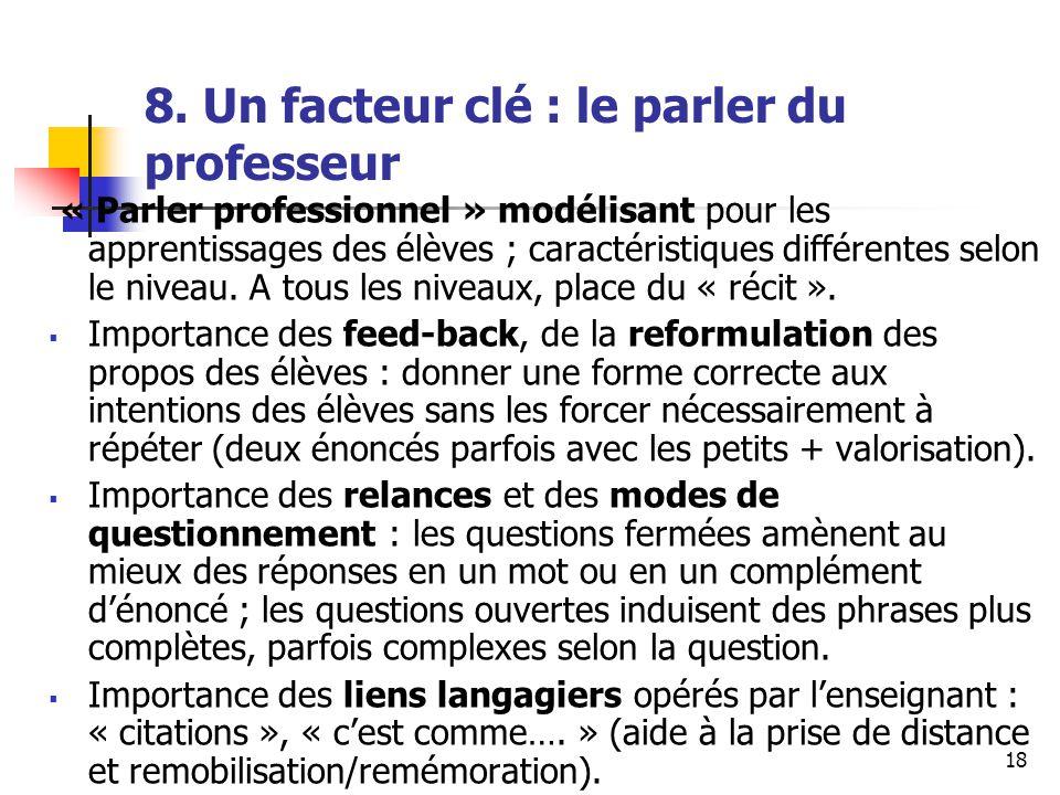 18 8. Un facteur clé : le parler du professeur « Parler professionnel » modélisant pour les apprentissages des élèves ; caractéristiques différentes s
