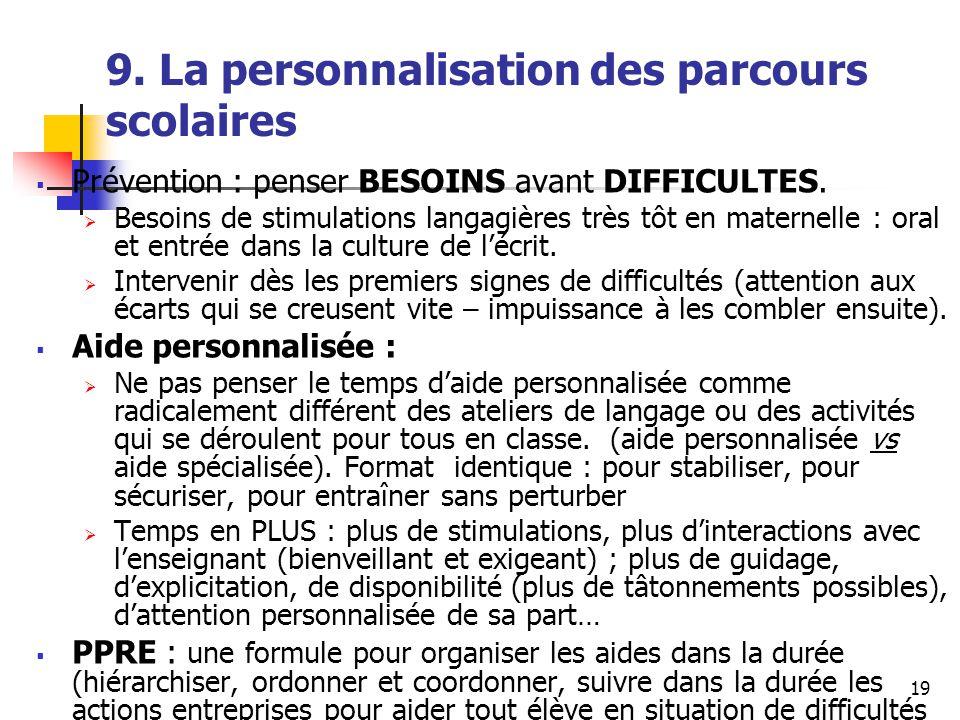 19 9. La personnalisation des parcours scolaires Prévention : penser BESOINS avant DIFFICULTES.