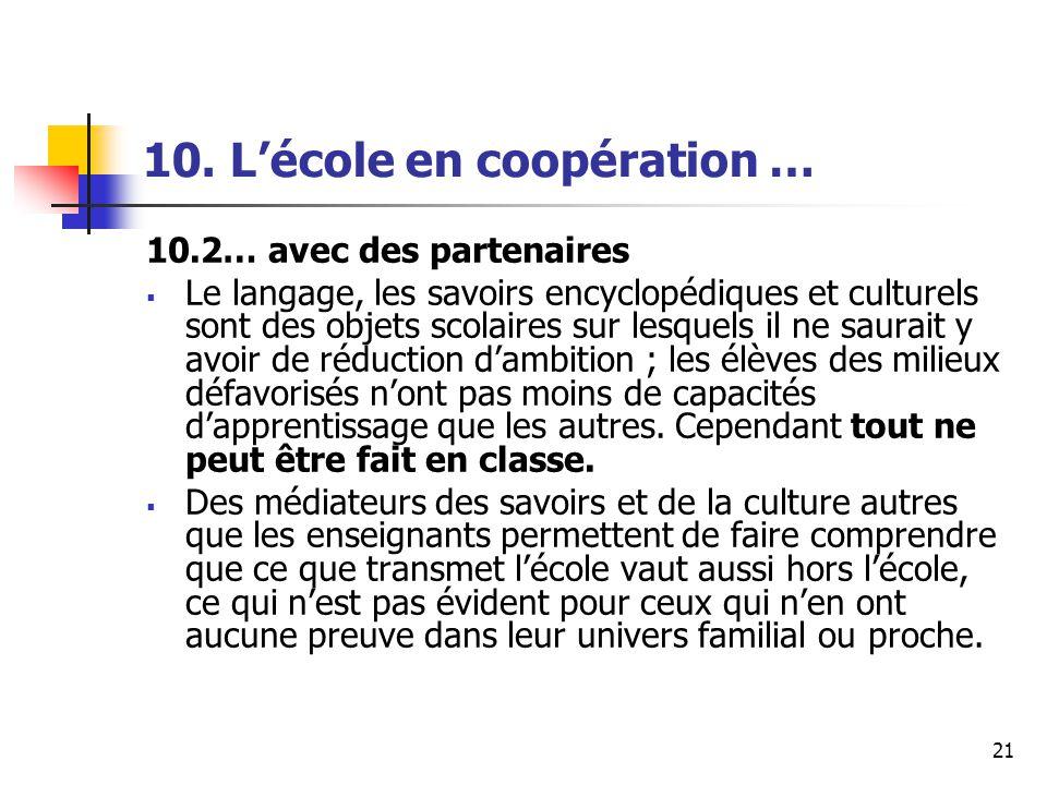21 10. Lécole en coopération … 10.2… avec des partenaires Le langage, les savoirs encyclopédiques et culturels sont des objets scolaires sur lesquels