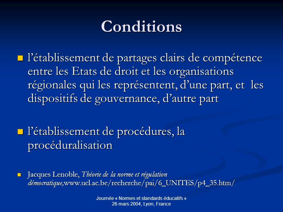 Journée « Normes et standards éducatifs » 26 mars 2004, Lyon, France Conditions létablissement de partages clairs de compétence entre les Etats de droit et les organisations régionales qui les représentent, dune part, et les dispositifs de gouvernance, dautre part létablissement de partages clairs de compétence entre les Etats de droit et les organisations régionales qui les représentent, dune part, et les dispositifs de gouvernance, dautre part létablissement de procédures, la procéduralisation létablissement de procédures, la procéduralisation Jacques Lenoble, Théorie de la norme et régulation démocratique,www.ucl.ac.be/recherche/pai/6_UNITES/p4_35.htm/ Jacques Lenoble, Théorie de la norme et régulation démocratique,www.ucl.ac.be/recherche/pai/6_UNITES/p4_35.htm/
