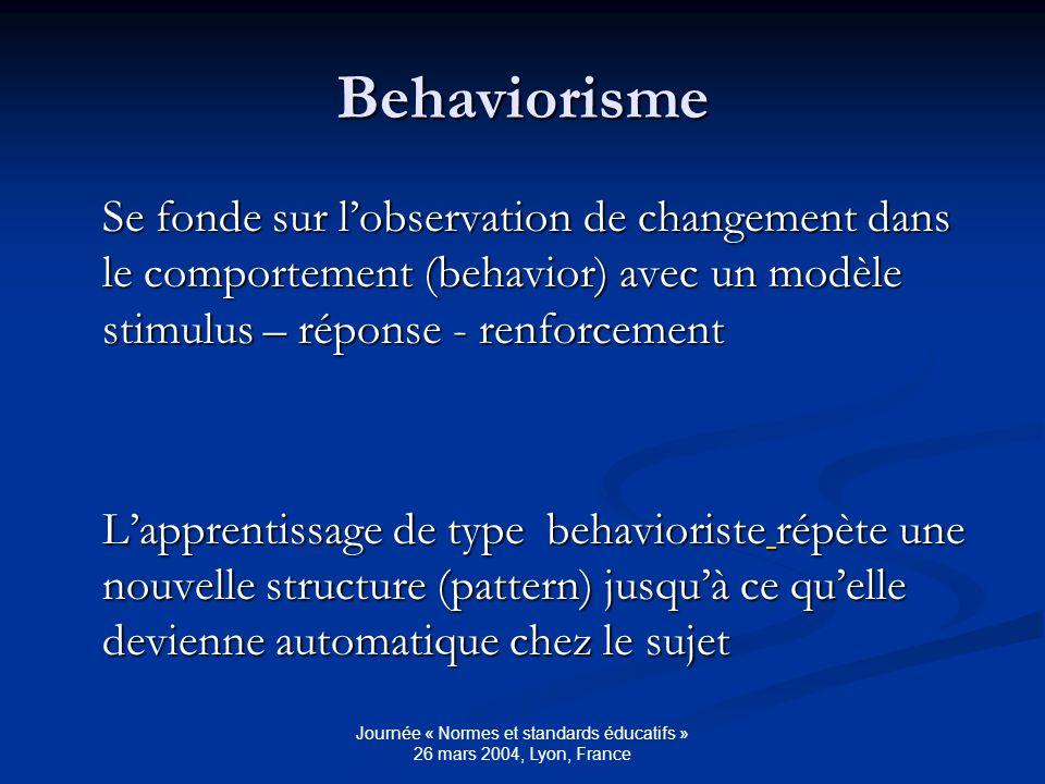Journée « Normes et standards éducatifs » 26 mars 2004, Lyon, France Behaviorisme Se fonde sur lobservation de changement dans le comportement (behavior) avec un modèle stimulus – réponse - renforcement Lapprentissage de type behavioriste répète une nouvelle structure (pattern) jusquà ce quelle devienne automatique chez le sujet