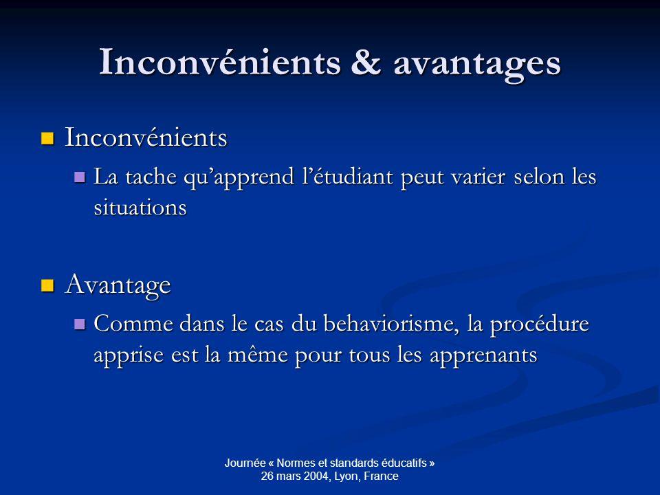 Journée « Normes et standards éducatifs » 26 mars 2004, Lyon, France Inconvénients & avantages Inconvénients Inconvénients La tache quapprend létudiant peut varier selon les situations La tache quapprend létudiant peut varier selon les situations Avantage Avantage Comme dans le cas du behaviorisme, la procédure apprise est la même pour tous les apprenants Comme dans le cas du behaviorisme, la procédure apprise est la même pour tous les apprenants