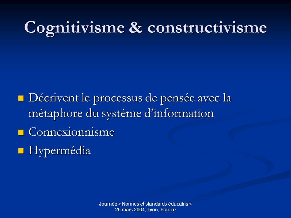 Journée « Normes et standards éducatifs » 26 mars 2004, Lyon, France Cognitivisme & constructivisme Décrivent le processus de pensée avec la métaphore du système dinformation Décrivent le processus de pensée avec la métaphore du système dinformation Connexionnisme Connexionnisme Hypermédia Hypermédia