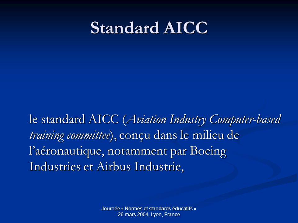Journée « Normes et standards éducatifs » 26 mars 2004, Lyon, France Standard SCORM le standard SCORM (Sharable Content Object Reference Model).