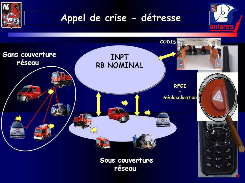RFGI + Géolocalisation INPT RB NOMINAL INPT RB NOMINAL Sans couverture réseau Sous couverture réseau Appel de crise - détresse Appel de crise - détres