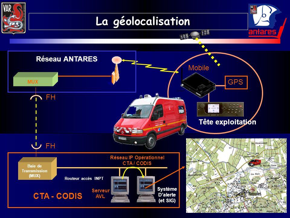 GPS Mobile Tête exploitation FH Réseau IP Opérationnel CTA / CODIS Serveur AVL Routeur accès INPT Baie de Transmission (MUX) CTA - CODIS Système Daler
