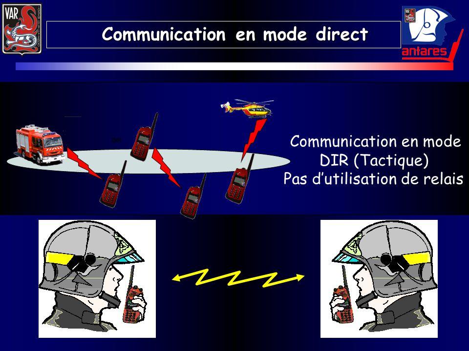 Communication en mode DIR (Tactique) Pas dutilisation de relais Communication en mode direct Communication en mode direct DIR