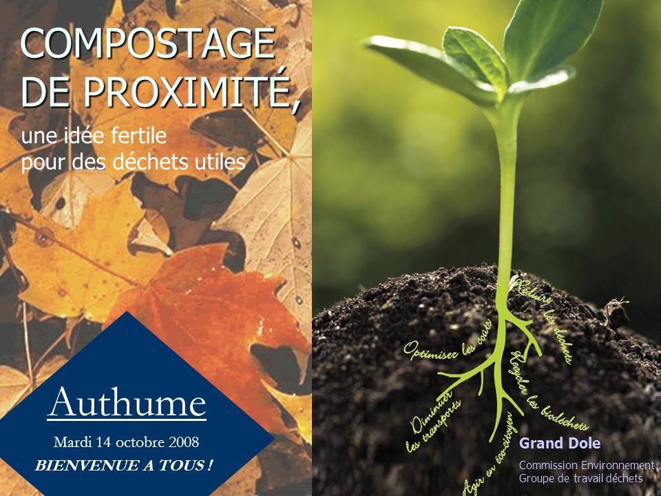COMPOSTAGE DE PROXIMITÉ, Authume Mardi 14 octobre 2008 BIENVENUE A TOUS ! une idée fertile pour des déchets utiles Grand Dole Commission Environnement