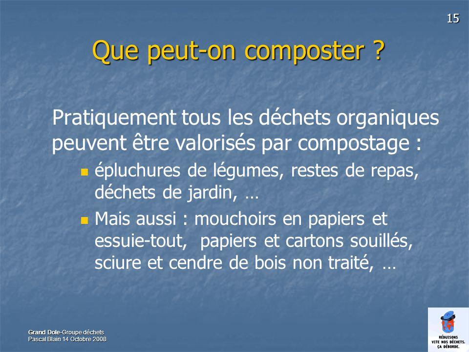 15 Grand Dole-Groupe déchets Pascal Blain 14 Octobre 2008 Que peut-on composter ? Pratiquement tous les déchets organiques peuvent être valorisés par