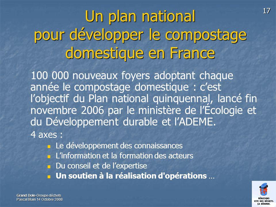 17 Grand Dole-Groupe déchets Pascal Blain 14 Octobre 2008 Un plan national pour développer le compostage domestique en France 100 000 nouveaux foyers