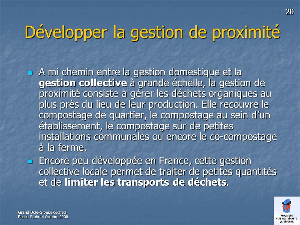20 Grand Dole-Groupe déchets Pascal Blain 14 Octobre 2008 Développer la gestion de proximité A mi chemin entre la gestion domestique et la gestion col