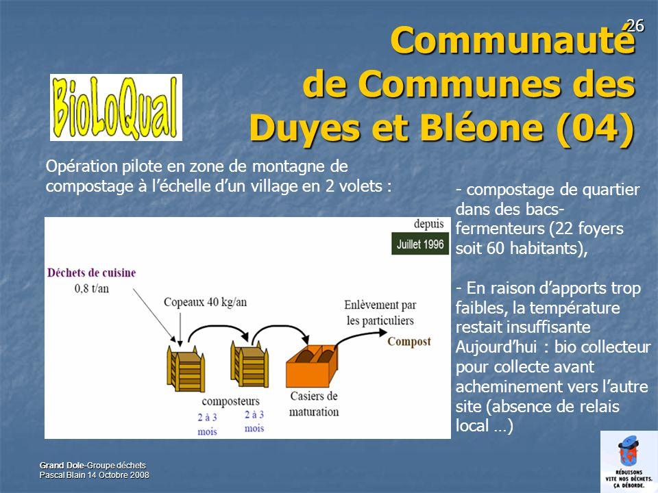 26 Grand Dole-Groupe déchets Pascal Blain 14 Octobre 2008 Communauté de Communes des Duyes et Bléone (04) - compostage de quartier dans des bacs- ferm