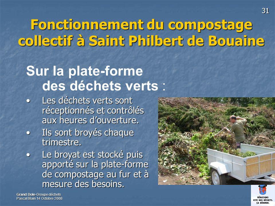 31 Grand Dole-Groupe déchets Pascal Blain 14 Octobre 2008 Fonctionnement du compostage collectif à Saint Philbert de Bouaine Sur la plate-forme des déchets verts : Les déchets verts sont réceptionnés et contrôlés aux heures douverture.Les déchets verts sont réceptionnés et contrôlés aux heures douverture.