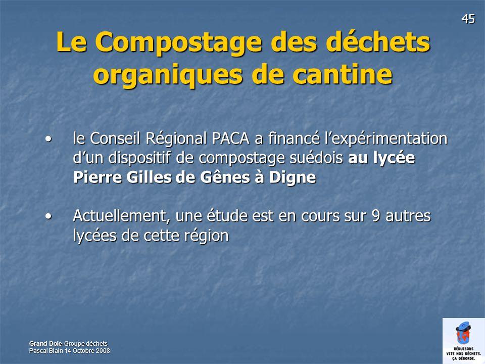 45 Grand Dole-Groupe déchets Pascal Blain 14 Octobre 2008 Le Compostage des déchets organiques de cantine le Conseil Régional PACA a financé lexpérime