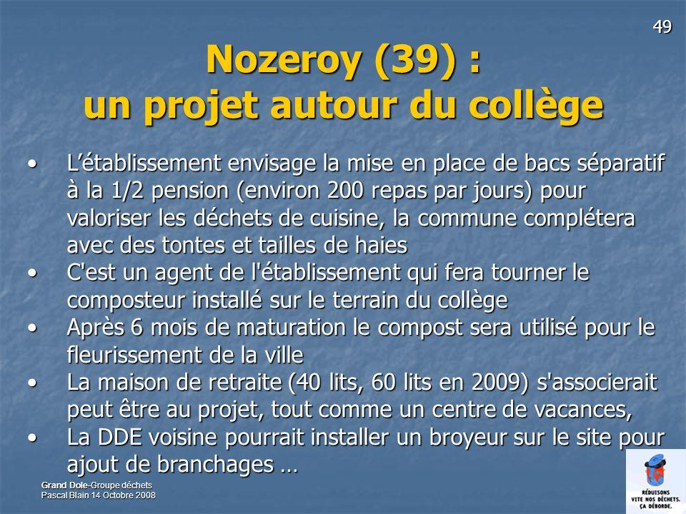 49 Grand Dole-Groupe déchets Pascal Blain 14 Octobre 2008 Nozeroy (39) : un projet autour du collège Létablissement envisage la mise en place de bacs