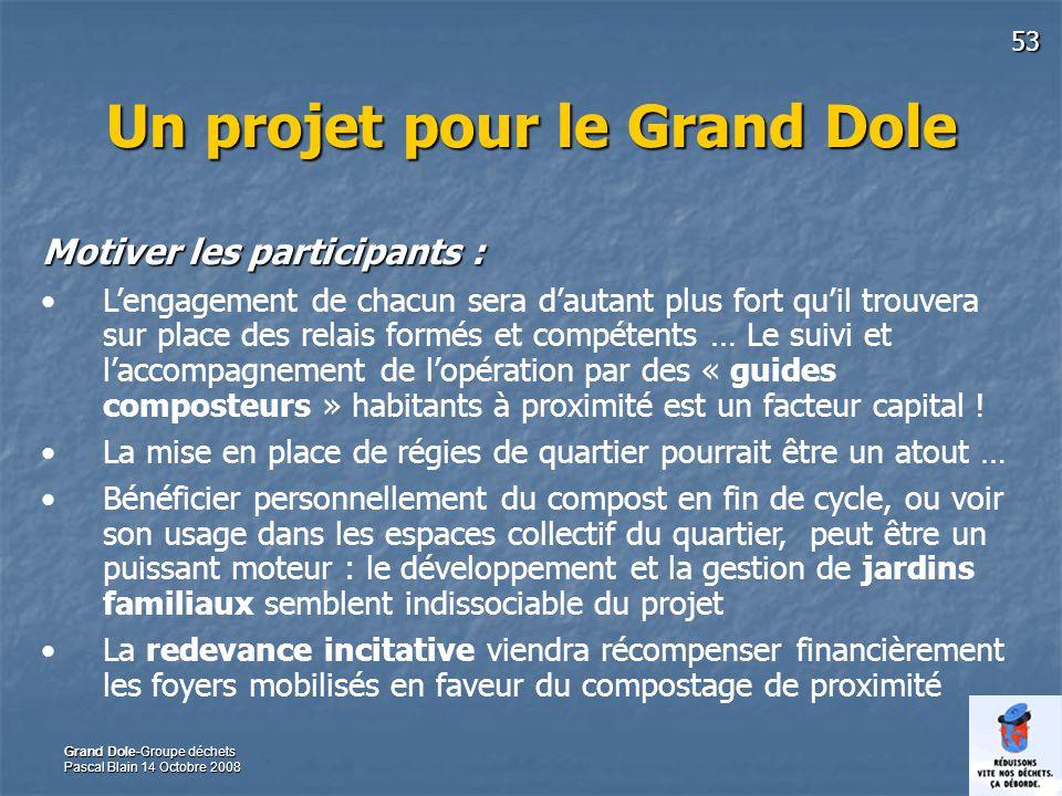 53 Grand Dole-Groupe déchets Pascal Blain 14 Octobre 2008 Un projet pour le Grand Dole Motiver les participants : Lengagement de chacun sera dautant p