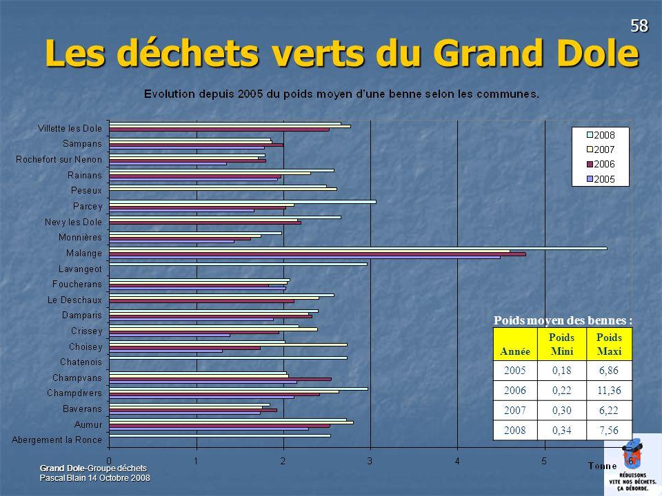 58 Grand Dole-Groupe déchets Pascal Blain 14 Octobre 2008 Les déchets verts du Grand Dole Poids moyen des bennes : Année Poids Mini Poids Maxi 20050,186,86 20060,2211,36 20070,306,22 20080,347,56