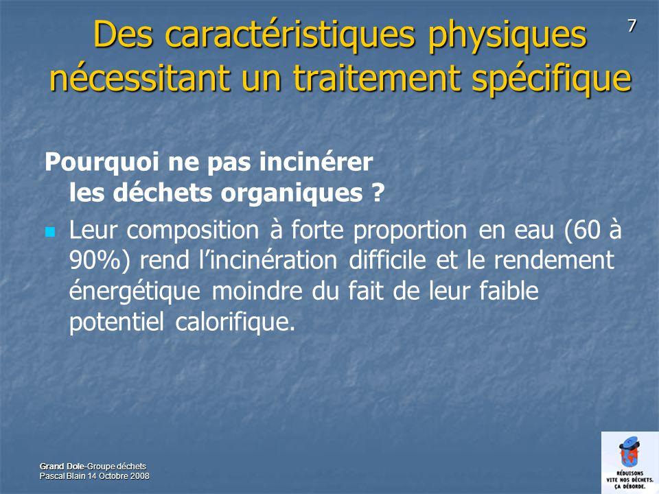 7 Grand Dole-Groupe déchets Pascal Blain 14 Octobre 2008 Des caractéristiques physiques nécessitant un traitement spécifique Pourquoi ne pas incinérer les déchets organiques .