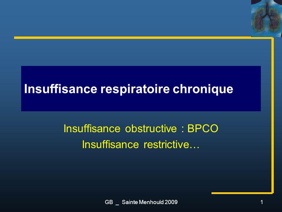 Insuffisance respiratoire chronique Insuffisance obstructive : BPCO Insuffisance restrictive… 1GB _ Sainte Menhould 2009
